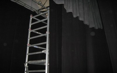 New stage black drapes