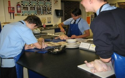 Year 10 learn how to joint a chicken