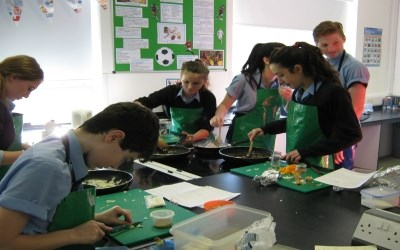 Year 9 create stir fry recipes in Food Tech