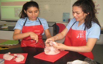 Year 10 learn how to joint a chicken in Food Tech