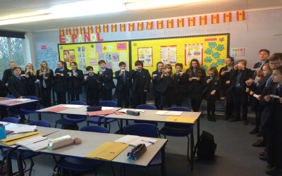 Human Dominoes in a French lesson